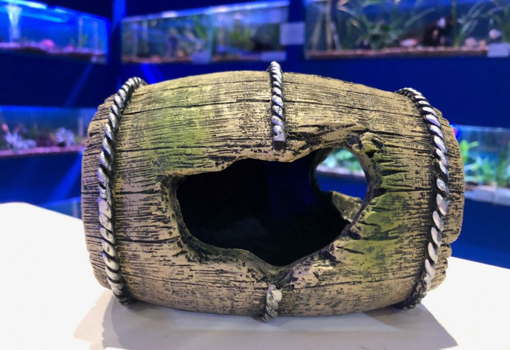 Barrel Hideaway Aquarium Fish Tank Ornament 14CM